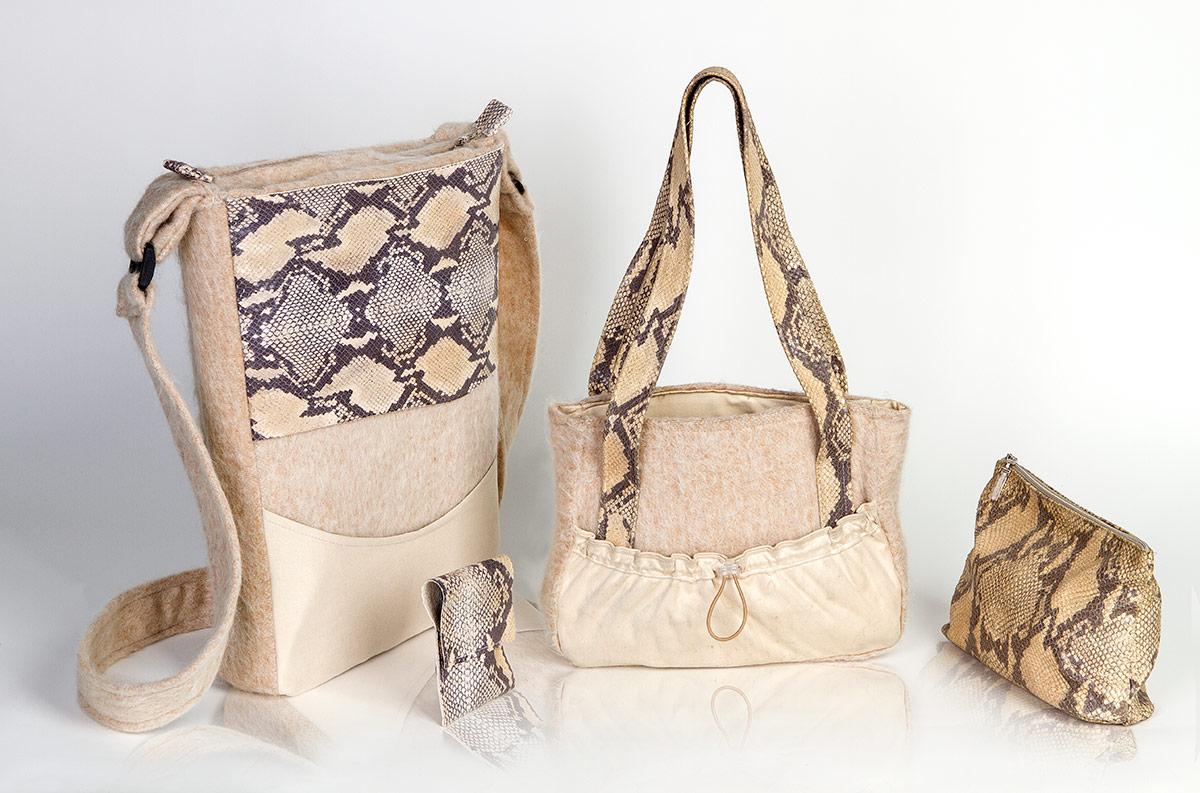 Verschiedene Taschen Kunstleder Stoff